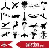 Velká sada jednoduchých ikony eps10 letectví