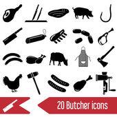 řezník a maso obchod černé ikony nastavit eps10