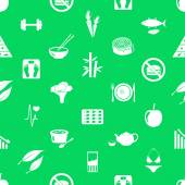 Set of diet and healthy life style theme icons seamless green pattern eps10