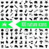 One hundred nature theme icons set eps10