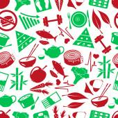 Set of green  diet and healthy life style theme icons seamless green pattern eps10