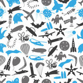 flying blue and gray theme theme symbols and icons seamless pattern eps10