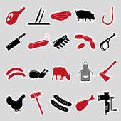 řezník a maso obchod černé a červené samolepky sada eps10