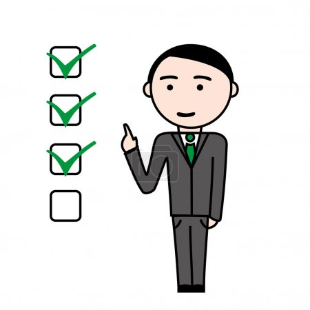 Business man with completed tasks
