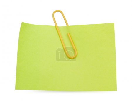 Green Note with yellow paper clip