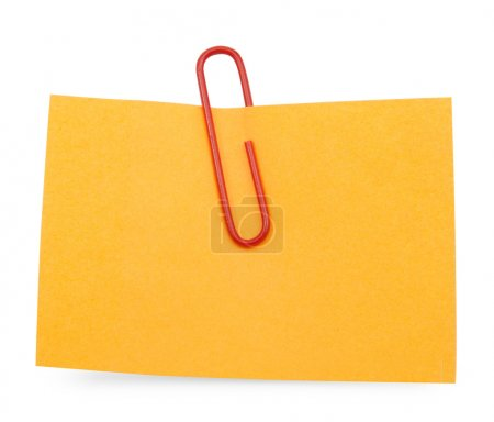 Orange Note with red paper clip