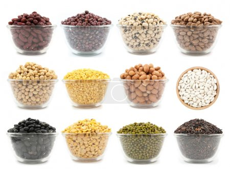 Photo for Collection of legumes in the cup isolated on white background - Royalty Free Image