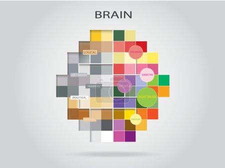 Illustration pour Concept d'idée créative conception de fond, pensée cérébrale gauche et droite . - image libre de droit