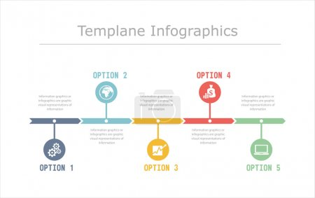 Illustration for Business Timeline Infographics vector design template for financial reports, website, infographic statistics. - Royalty Free Image