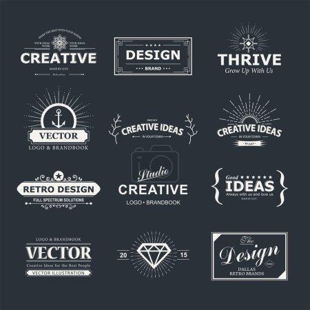 Illustration pour Eléments de design vectoriel vintage. Étiquettes, étiquettes, insignes, timbres, flèches et emblèmes de style rétro - image libre de droit