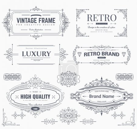 Illustration for Collection of vintage patterns. Flourishes calligraphic ornaments and frames. Retro style of design elements, postcard, banners, logos. Vector template - Royalty Free Image