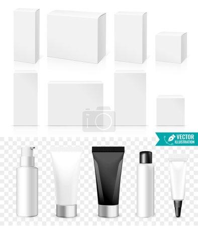 Illustration pour Tubes et boîtes réalistes. Emballage de produits cosmétiques ou de médicaments blancs isolés sur fond blanc. Vous pouvez l'utiliser pour le tube de crèmes, shampooing, gel, onguents ou tout autre produit pour vous concevoir - image libre de droit