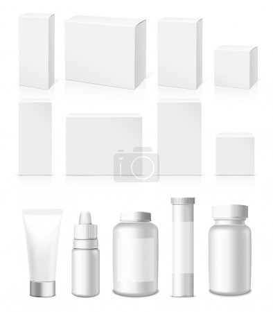 Illustration pour Tubes réalistes, pot et paquet. Emballage des cosmétiques et des médicaments blancs isolés sur fond blanc. Vous pouvez l'utiliser pour le tube de crèmes, médicaments, produits chimiques, gel, onguents ou tout autre produit - image libre de droit