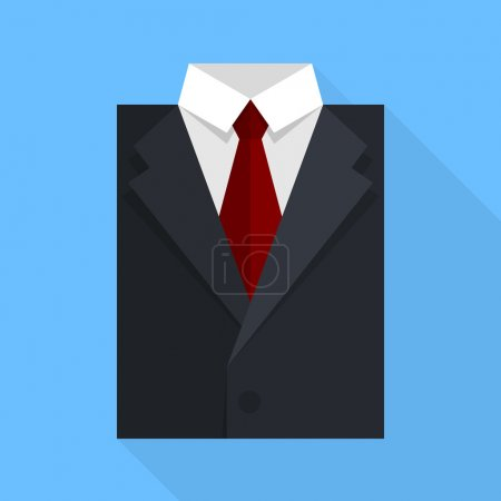 Illustration for Flat business jacket and tie. Black color. Vector illustration in eps10 - Royalty Free Image