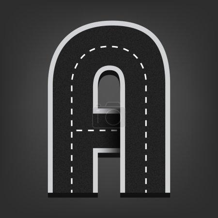 A letter. Road font
