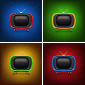 Set retro color tv with background