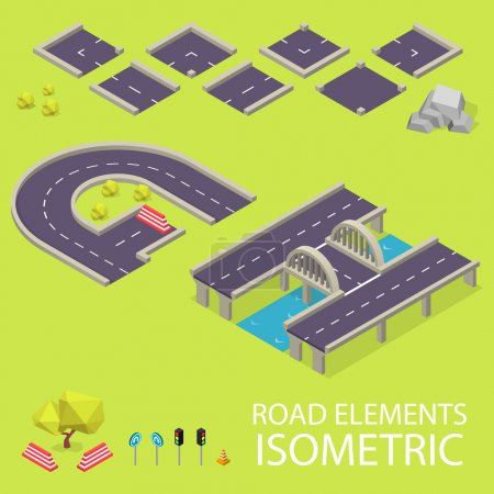 Road elements isometric. Road font. Letters G and H