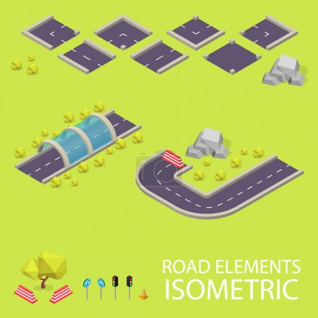 Road elements isometric. Road font. Letters I and J