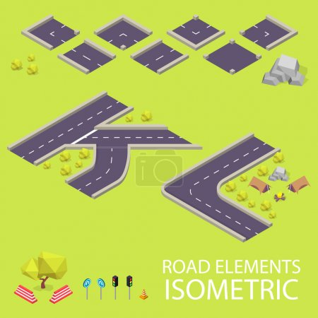 Road elements isometric. Road font. Letters K and L