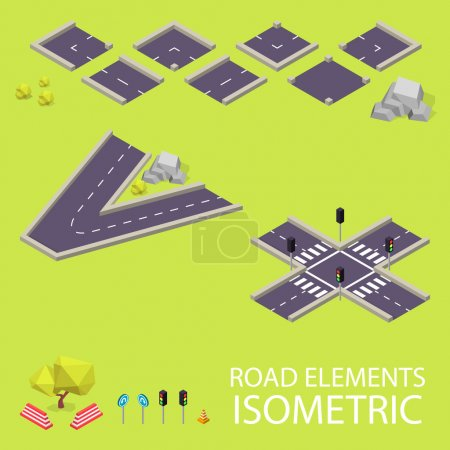 Road elements isometric. Road font. Letters V and X