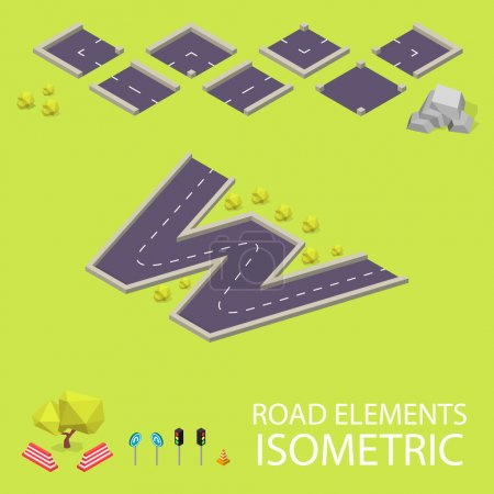 Road elements isometric. Road font. Letter W