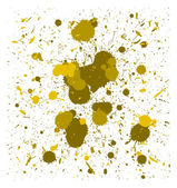 Set of vector yellow quality handmade brush splatters