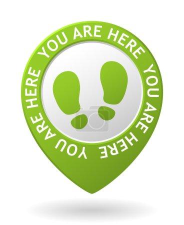 Illustration pour Vecteur carte verte pointeur avec vous êtes ici icône - image libre de droit