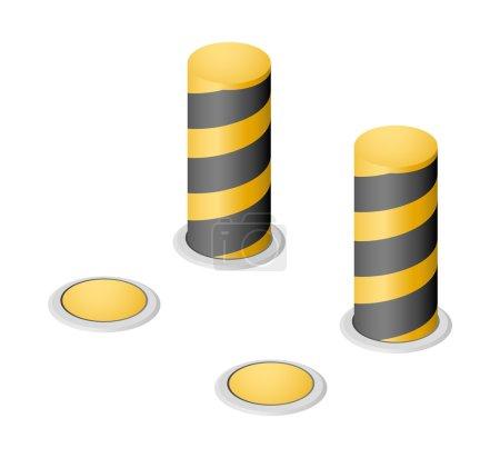 Set of vector yellow warning retractable bollards...