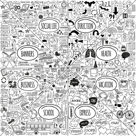 Illustration for Mega set of doodle social, business, medicine, vacation and school icons, banners, arrows and speech bubbles. Hand drawn designer elements. Vector illustration - Royalty Free Image