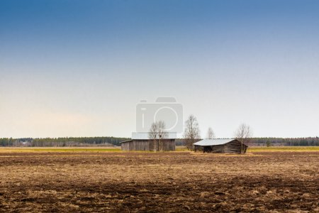 Two Barns On An Early Spring Field