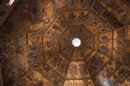The golden mosaic inside the cupola of the Baptist...