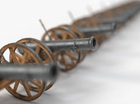 Ramadan cannon sorted in a line, 3d illustration, ...