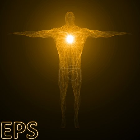 conceptual illustration of spiritual energy. body builder versio