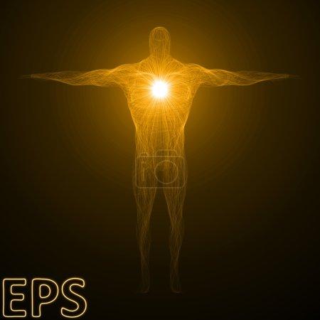 Conceptual illustration of spiritual energy. body builder versio