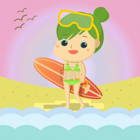 Illustration for Girl on the beach Mascot cartoon great for any use. Vector EPS10. - Royalty Free Image