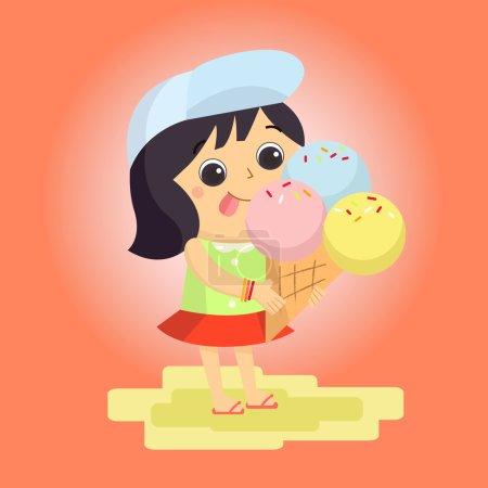 Illustration pour Mascotte de crème glacée fille dessin animé idéal pour tout usage. Vecteur EPS10 . - image libre de droit