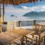 Wooden table in sea seaside restuarant, Koh Tao, S...