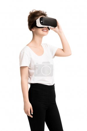 Girl getting experience using VR glasses of virtual reality