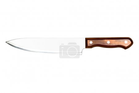 large kitchen knife on a white background