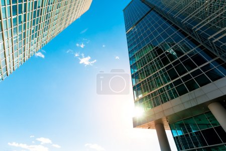 Photo for Blue skyscraper facade. office buildings. modern glass silhouettes of skyscrapers, in Moscow - Royalty Free Image