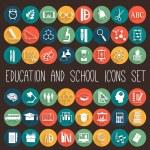 Education School Colored Flat Icon Set....