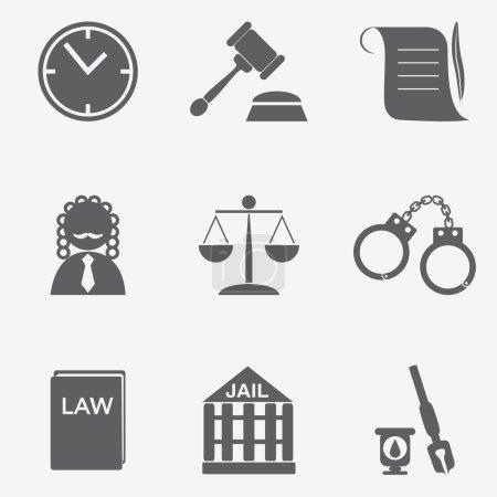 Illustration pour Droit juge icône ensemble, signe de justice - image libre de droit