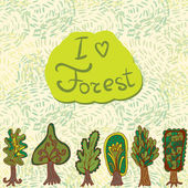 Hand-drawn border pattern with doodle forest trees
