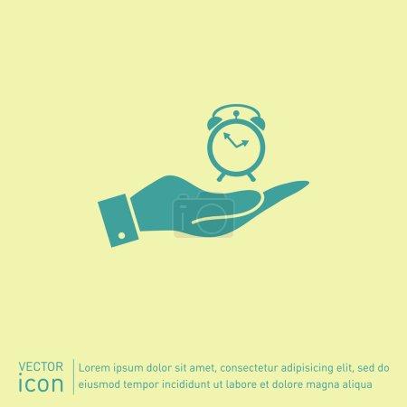 Hand holding     Alarm icon