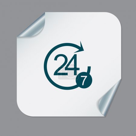 Illustration for 24 7 icon. open 24 hours a day and 7 days a week icons - Royalty Free Image