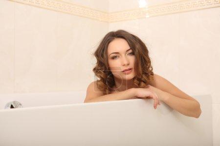 beautiful woman in the bathroom lingerie