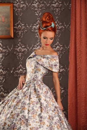 Luxury young beautiful woman in vintage victorian dress