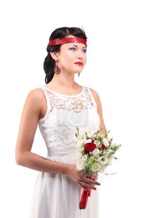 Portrait of young woman retro wedding