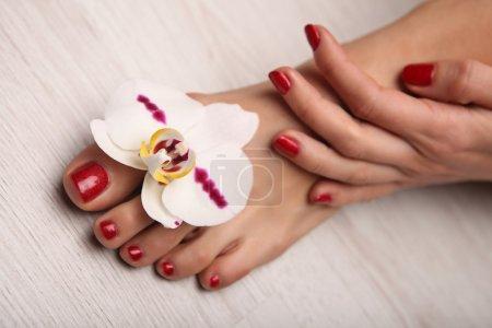 Photo pour Studio de manucure ongles de femme belle avec beau Noël - image libre de droit
