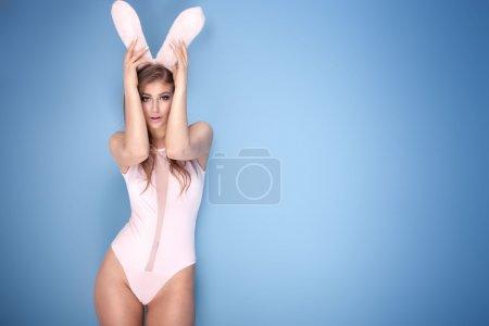 Lovely sensual girl in bunny ears.